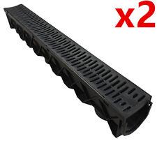 2 x Drain Channel Deep Drainage Plastic PVC Water Rain Storm Shower Wetroom 1m