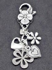 CLIP ON BAG CHARM Tibetan Silver FLOWERS and HEARTS lovely girlie Gift Present