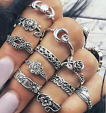 12x Bohemian Vintage Women Silver Elephant Turquoise Finger Rings Punk Ring Gift