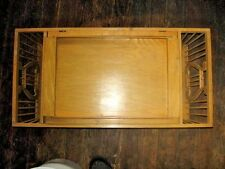 Vintage Wood Breakfast Bed Tray Harp Adjustable w Side Pockets and Carrying Tray