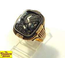 Antique Ornate 10K Rose Gold Black Stone Carved Intaglio Wax Seal Ring S-9.5 8g+