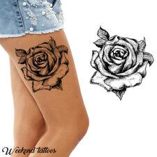 Big Large Full Black Roses Flower Temporary Tattoos Body Leg Back Rose Tatoo
