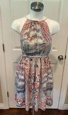 Floreat Anthropologie Pink Halter 100% Silk Nautical Print Boho Dress, Size XS
