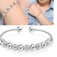 Wholesale Fashion Jewelry Silver Plated Beaded Bangle Bracelet Lady Gift