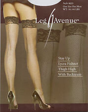 LEG AVENUE STAY UP LYCRA FISHNET THIGH HIGH WITH BACKSEAM