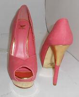"Blush/Gold 6"" Stiletto High Heel 2"" Platform Open Toe Sexy Shoes Size 8.5"