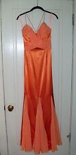 Panoply Peach flirty gown, Cross-over organza bodice, spaghetti straps, Size 8