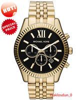 NEW Michael Kors MK8286 Men's Lexington Watch Gold-Tone Black Dial 45MM