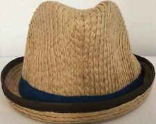 Christys Crown Collection Pork Pie Hat 100% Raffia Natural Blue/Brown S/M 56cm 7