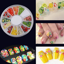 Wheel Mixed Fimo Clay Fruit Slice Canes Sticker 3D Nail Arts Decoration