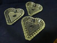 """VALENTINE Clear Crystal Heart-Shaped Candy/Nuts/Mints Dishes-Set of 3-4""""x 4 1/2"""""""