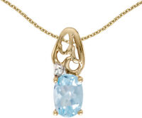 14k Yellow Gold Oval Aquamarine and Diamond Pendant (no chain) (CM-P2582X-03)