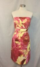 NWT New York & Company Pink Yellow Floral Strapless Dress Size 16