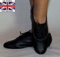 Jazz Modern Dance Leather Shoes Full Suede Rubber Sole New Children Adult Black