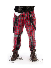 Mens Tartan Bondage Trousers Fancy Dress 70s 80s Punk Rocker Sex Pistols Costume