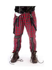 Para Hombre Tartan Bondage Pantalones Fancy Dress 70s 80s Punk Rocker Sex Pistols Disfraz