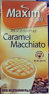 Maxim Cafe Caramel Macchiato Korea Instant Flavored Coffee 13g X 10 Sticks