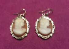 STERLING SILVER & HARDSTONE CARVED CAMEO MARCACITE EARRINGS.