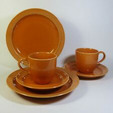 Studio Nova PERSIMMON Luncheon Set for 2 Salad Plates Cups Saucers Burnt Orange
