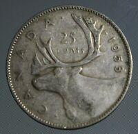 1953 Canada quarter LARGE date. This 25 cent coin is 80% silver