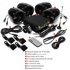 1000W Bluetooth Motorcycle Stereo 4 Speaker Audio MP3 System AUX USB SD FM Black