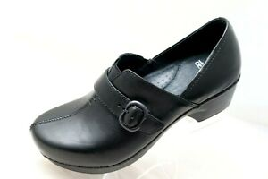Dansko Tamara Sz 38 US 7.5 Buckle Strap Split Toe Black Leather Comfort Clogs