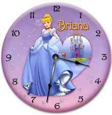 "10.5"" CINDERELLA Wall Clock Nursery Art Clock Personalized Clock Room Decor"