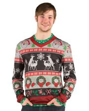 Lg Faux Real Costume T-shirt Xmas Christmas Ugly frisky deer sweater funny party
