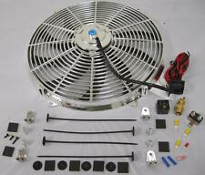 "16"" Inch Chrome Electric S-Blade Cooling Fan + Relay Thermostat & Install Kit"