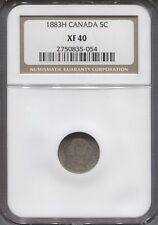 1883 H NGC XF40 Canadian 5¢ Cents Silver