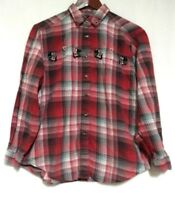 Cabin Creek Womens Red Plaid Embroidered Scotty Dogs Long Sleeve Shirt L