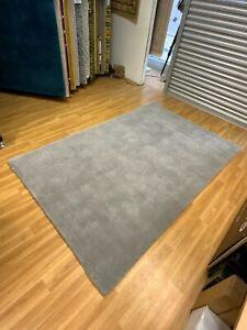 100% Wool Rug in Grey With Embossed Geometric Detail 160x230CM  *Ex Display*
