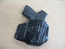 Taurus Slim LASER 9mm OWB Leather 2 Slot Molded Pancake Belt Holster BLACK RH