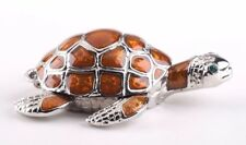 Brown Turtle Faberge trinket box hand made by Keren Kopal w/ Austrian crystal