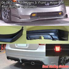 Mu-gen Si Style Front (PU) + Mu-gen RR Style Rear Lip (ABS) Fit 06-08 Civic 4dr