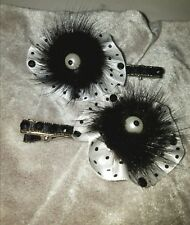 Black Mink Fur Hair Clip Ribbon  Covered Barrette Set