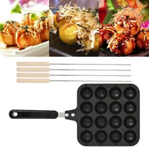 Household Non-Stick Takoyaki Grill Pan Plate Cooking Mold Tray Baking needle