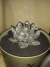 """Signed Swarovski Silver Crystal Footed Lotus Water Lily Candle Holder 3 1/2"""" Dia"""
