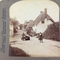 .ENGLAND c1900, THE VILLAGE OF STUDLEY, UNDERWOOD & UNDERWOOD STEREOVIEW CARD.