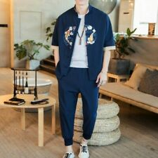 Retro Men Tops Suit Cotton Printing Chinese Style Youth Casual Shirts Pant 2Pcs