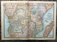 Antique Map Of Africa Central Madagascar German British East Africa Zanziba 1903