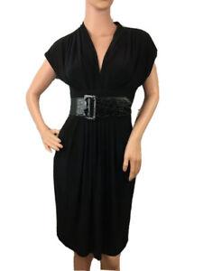 Bisou Bisou Black V-Neck Dress Wide Stretchy Belt Front Pockets NWT Size 4