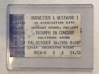 Triumph Yngwie Malmsteen 1986 Concert Ticket Stub Baltimore
