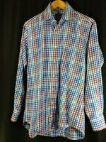 Peter Millar Mens Long Sleeve Button Front Check Plaid Shirt Blue Purple White M