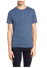 $95 THEORY Men's Gaskell Henley Cotton T-Shirt - New - Blue - Large