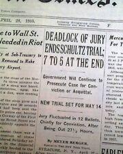Jewish Gangster DUTCH SCHULTZ Beer Baron Tax Evasion Trial ENDS 1935 Newspaper
