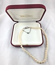 Majorica Pearl Strand Necklace w/Sterling &Faux Diamond Pearl Clasp w/Box&Papers