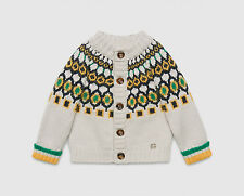 GUCCI BABY VIRGIN WOOL PATTERNED CARDIGAN 9-12 MONTHS