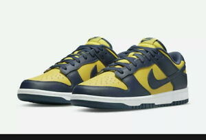 Nike Dunk Low PS Michigan 2021 Shoes Sz  2 CW1588-700 Leather Blue Maize New