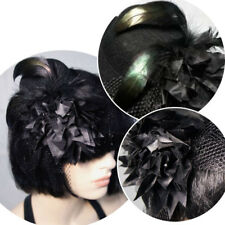 Burlesque Gothic Victorian Black Felt Top Hat w/ Black Feathers/Mesh Satin Rose
